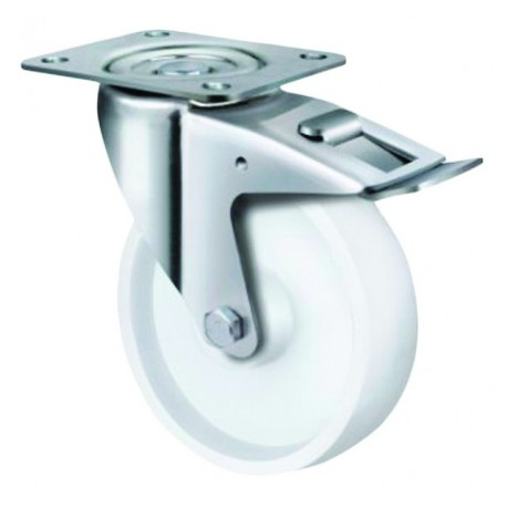 Medium Duty White Nylon Castor Swivel with Brake 80mm 180kg TE21NNR080SB