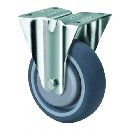 Medium Duty Grey Rubber Castor Fixed 80mm 140kg TE21TPB080R