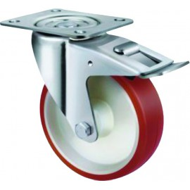 Medium Duty Industrial Urethane Castor Swivel with Brake 80mm 140kg TE21UNR080SB
