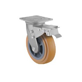 Heavy Duty Castor Urethane Swivel with Brake 100mm 200kg TE41UPB100SB