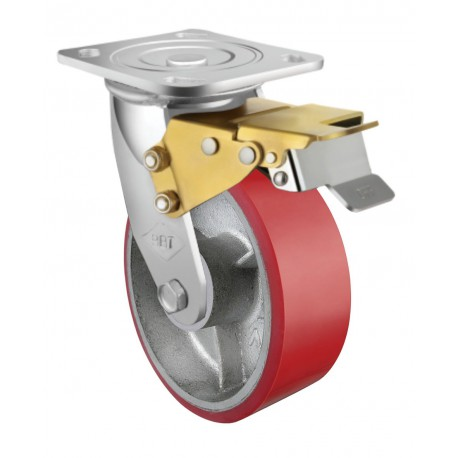 Heavy Duty Castor Urethane Swivel with Brake 100mm 250kg TE71UOC100SB