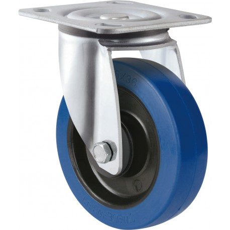 Medium Heavy Duty Blue Rubber Castor Swivel 100mm 200kg TE31EZB100S