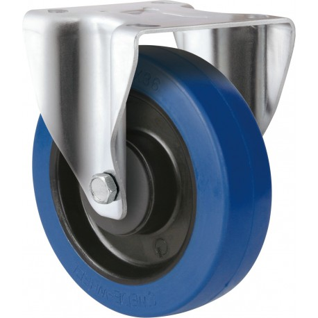 Medium Heavy Duty Blue Rubber Castor Rigid 100mm 200kg TE31EZB100R
