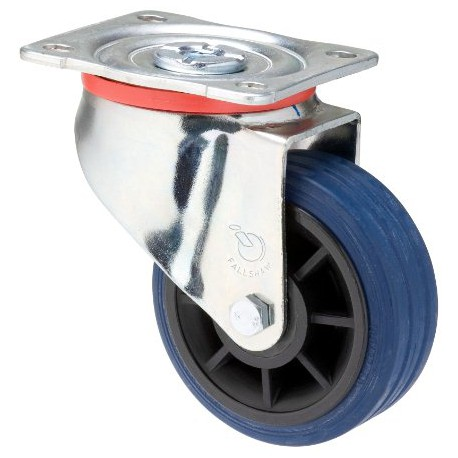Fallshaw JBR Series Blue Rubber Castor Swivel 100mm 150kg JBR100/JZP
