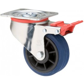 Fallshaw JBR Series Blue Rubber Castor Swivel with brake 100mm 150kg JBR100/JZPTB