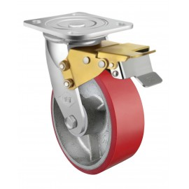 Heavy Duty Castor Urethane Swivel with Brake 200mm 400kg TE71UOC200SB