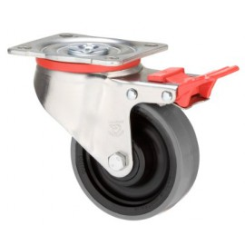 Heavy Duty Urethane Castor Swivel with brake 100mm 300kg JUR100/JZPTB