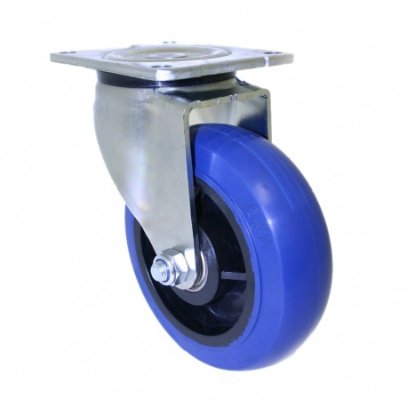 Super Duty Blue Rubber Castor Swivel 100mm 150kg OBQ100/OZP