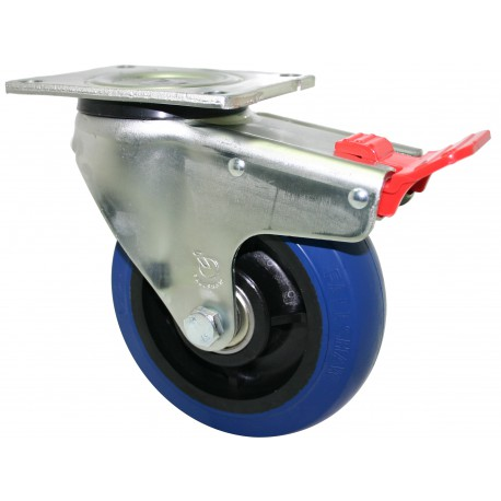 Super Duty Blue Rubber Castor Swivel with brake 125mm 350kg OBQ125/OZPTB