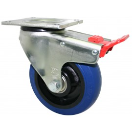 Super Duty Blue Rubber Castor Swivel with brake 100mm 300kg OBQ100/OZPTB