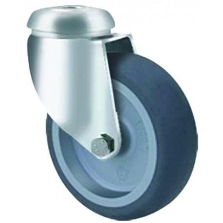 Light duty Castor Rubber bolt hole 100mm 75kg TE11TPP100H