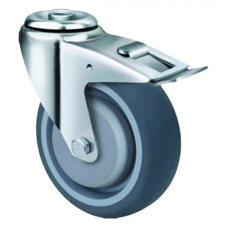 Medium Duty Grey Rubber Castor Bolt Hole with brake 100mm 150kg TE21TPB100HB