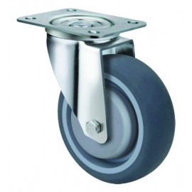 Medium Duty Grey Rubber Castor Swivel 100mm 150kg TE21TPB100S