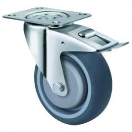 Medium Duty Grey Rubber Castor Swivel 100mm 150kg TE21TPB100SB