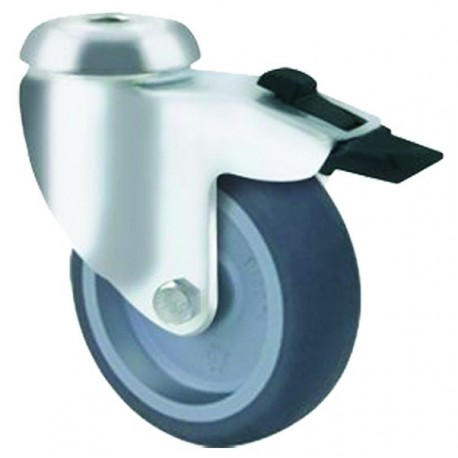 Light Duty Castor Rubber Bolt Hole with Brake 100mm 75kg TE11TPP100HB