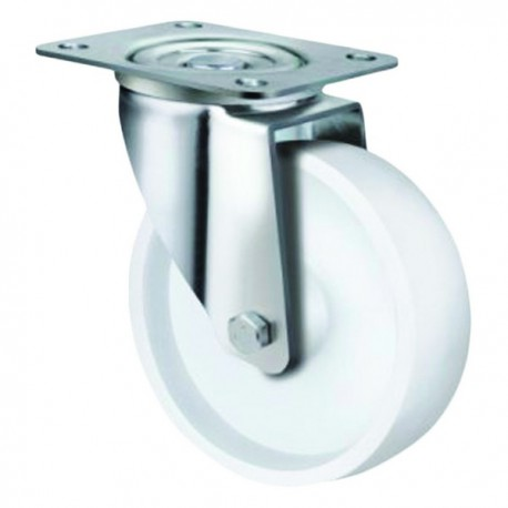Medium Duty White Nylon Castor Swivel 100mm 190kg TE21NNR100S