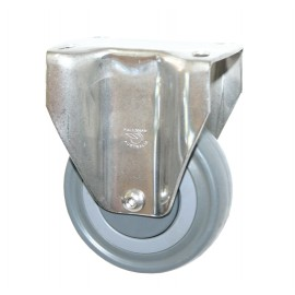 Stainless Steel Grey Rubber Castor Fixed 100mm 140Kg MSC100G/MSF