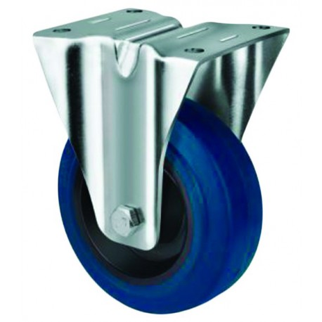 Medium Duty Blue Rubber Castor Rigid 100mm 140kg TE21ENR100R