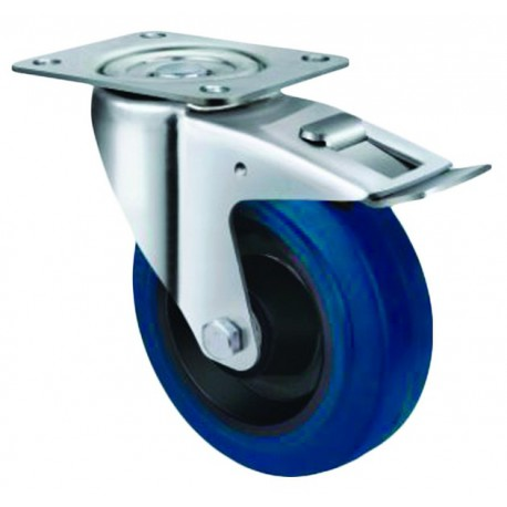 Medium Duty Blue Rubber Castor Swivel with Brake 160mm 300kg TE21ENR160SB