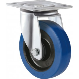 Medium Heavy Duty Blue Rubber Castor Swivel 200mm 400kg TE31EZB200S