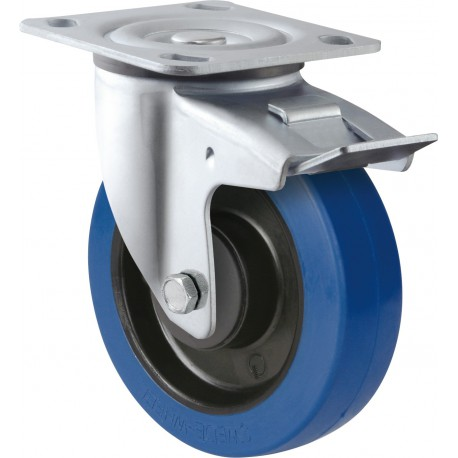 Medium Heavy Duty Blue Rubber Castor Swivel with brake 160mm 300kg TE31EZB160SB