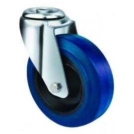 Medium Duty Blue Rubber Castor Bolt Hole 100mm 140kg TE21ENR100H