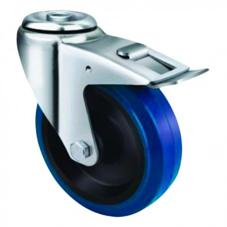 Medium Duty Blue Rubber Castor Bolt Hole with Brake 100mm 140kg TE21ENR100HB