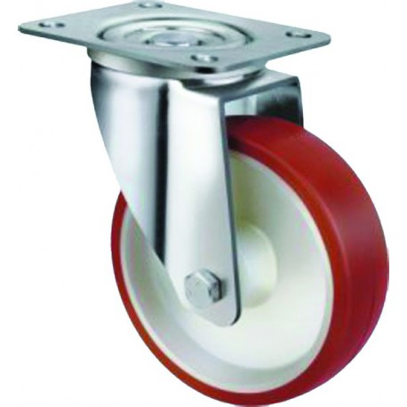 Medium Duty Industrial Urethane Castor Swivel Plate 125mm 190kg TE21UNR125S
