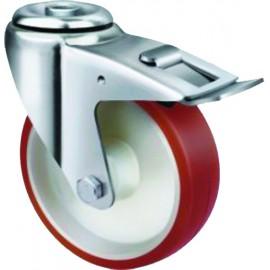 Medium Duty Industrial Urethane Castor Bolt Hole with Brake 160mm 300kg TE21UNR160HB