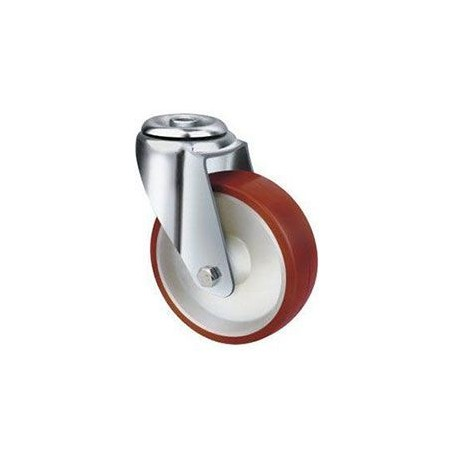 Stainless Steel Urethane Castors Bolt Hole - 80MM 180kgs TE22UNI080H
