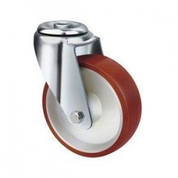 Stainless Steel Urethane Castors Bolt Hole - 100MM 190kgs TE22UNI100H