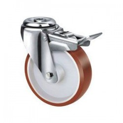 Stainless Steel Urethane Castors Bolt Hole with Brake - 80MM 180kgs TE22UNI080HB
