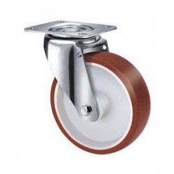Stainless Steel Urethane Castors Swivel - 80MM 180kgs TE22UNI080S