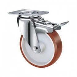 Stainless Steel Urethane Castors Swivel with Brake - 80MM 180kgs TE22UNI080SB