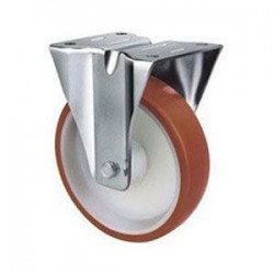 Stainless Steel Urethane Castors Fixed - 80MM 180kgs TE22UNI080R