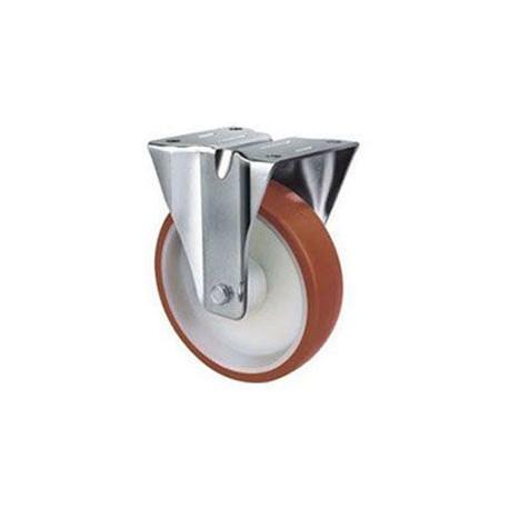 Stainless Steel Urethane Castors Fixed - 125MM 270kgs TE22UNI125R