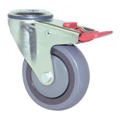 Fallshaw STQ Series Bolt Hole with Brake Rubber Castor 100mm 100kg STQ75G/MZHTB