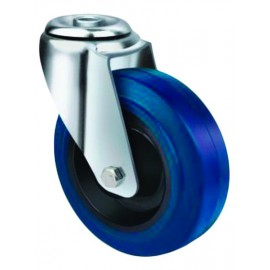 Medium Duty Blue Rubber Castor Bolt Hole 80mm 130kg TE21ENR080H