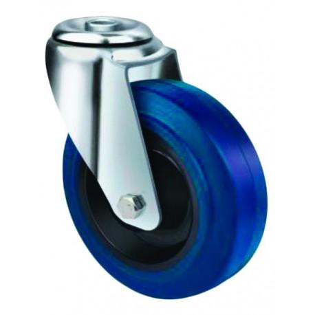 Medium Duty Blue Rubber Castor Bolt Hole 80mm 130kg TE21ENR080H
