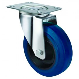 Medium Duty Blue Rubber Castor Swivel 80mm 130kg TE21ENR080S